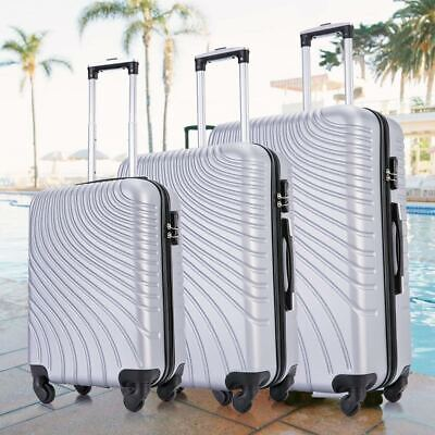 Update 3PCS Hardshell Luggage Set Spinner Trolley Suitcase 20'' 24'' 28'' Silver