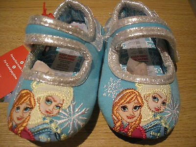 Girls Disney Frozen Slippers Uk4, Eur20.5 Elsa + Anna - Brand New With Tags