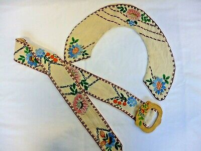 Vintage Hand Embroidered Folk Style Belt And Collar