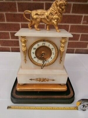 Antique French gilt metal and alabaster Clock