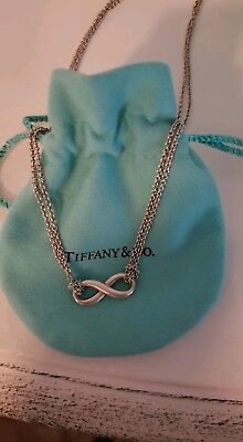 Authentic Tiffany &Co 925 Sterling Silver Infinity Pendant Double Chain Necklace