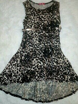 Brand New YD young Dimension Girls Leopard Print Dress & Belt 9-10 Years 140cm