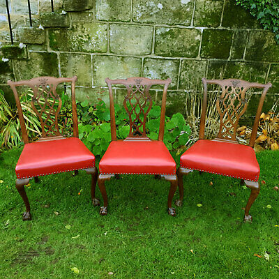 Chippendale Georgian Style Set of 3 Mahogany Dining Chairs C1870