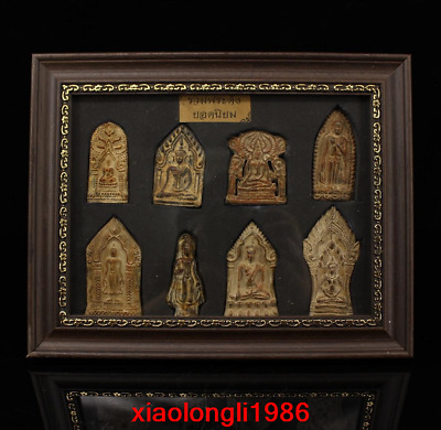 A set China antique Ancient temple Collection bronze Buddha card