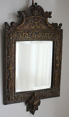 "Antique Gilt Bronze Green Man & Dolphin Frame Bevelled Wall Mirror 13"" x 7"""