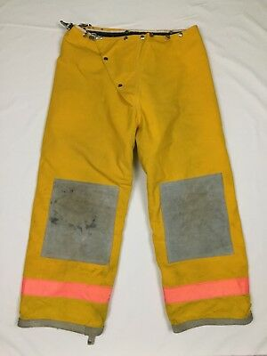 EXPRESS - Yellow Firefighter Nomex Thermal Lined Protective Turnout Pants, Sz 36