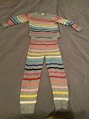 Girls - GAP Grey Multi Colour Stripe Knitted Jumper And Leggings Set  - Age 4