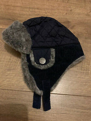 Mothercare Baby Boys Navy Blue & Grey Deer Hunter Winter Hat - 12-24 Months