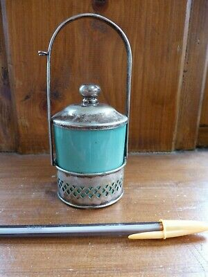 EPNS mustard pot with Palissy green ceramic liner 1950s tableware a/f