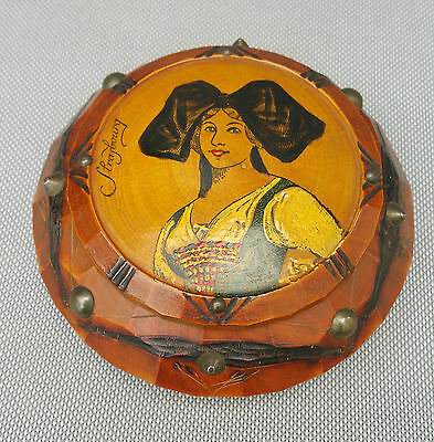 Antique Box for Jewelry Wooden round Alsace Strasbourg French Antique Box