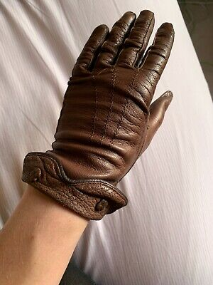 Vintage 1940s Leather Gloves, Soft, Small, Flowers Brown