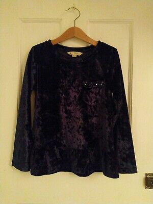Yumi Girls 7-8 Navy Party Top In Crushed Velvet Style