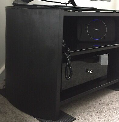 Corner TV Unit / Stand - Black Wood And Tempered Glass