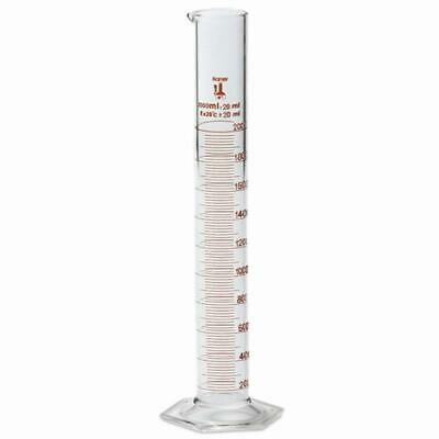 2000ml Graduated Cylinder, Borosilicate 3.3 Glass, Single Metric Scale, Karter