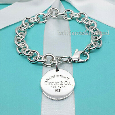 Return to Tiffany & Co. Round Tag Bracelet Charm 925 Sterling Silver Authentic