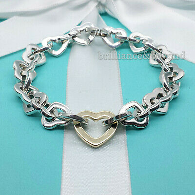 Tiffany & Co Heart Link Bracelet 750 18K Gold & 925 Sterling Silver Authentic