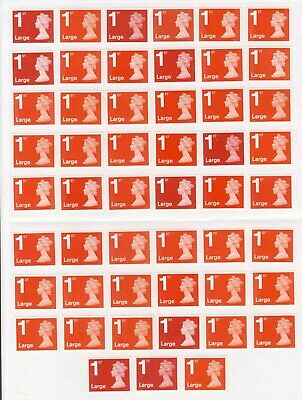 50 1St Class Large Letter Red Unfranked Security Stamps + Gum On Easy Peel Sheet