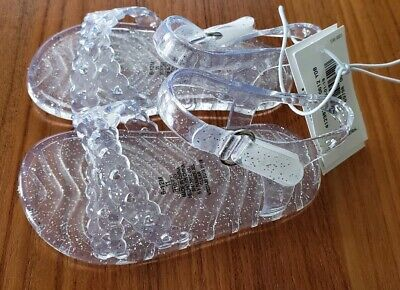 Old Navy Toddler Girls SIZE 3 / 6-12 MONTHS Clear Sparkle Jelly Sandals #10219