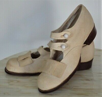 Edwardian/Victorian Canvas Shoes - Leather Sole/Glass Buttons - Girls/Child 12.5
