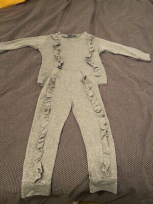 Girls Grey Frill Tracksuit - Jumper And Bottoms - Age 4