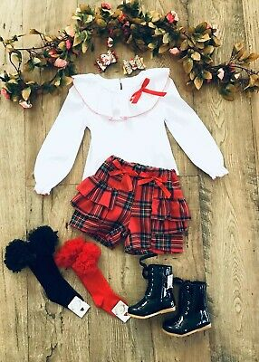 Girls Spanish  Red Tartan Shorts & White Frilly Neck Top Ideal Christmas Outfit