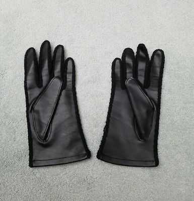 REDUCED  ❀ڿڰۣ❀ VINTAGE 1970s Women's BLACK FAUX LEATHER GLOVES ❀ڿڰۣ❀