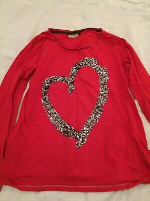 Girls Next Long Sleeve Red Top With Sequin Heart Age 16 Years