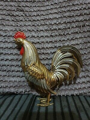 Stunning Vintage White Metal Or Silver Plated Model Of A Cockerel