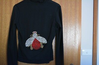 Italy Made Women's 2pcs Set Tracksuit Top With Zip & Crystal Bee back, Size S