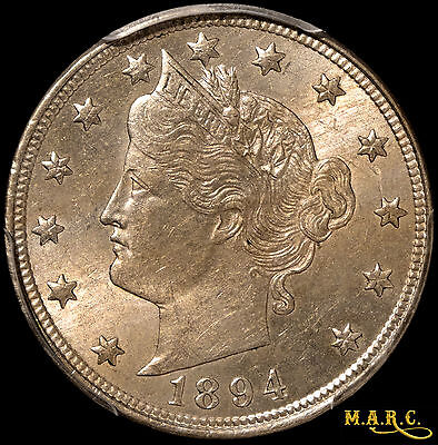 1894 MS64 PCGS 5C liberty Nickel, Light Brass-colored toning! Free Shipping MARC