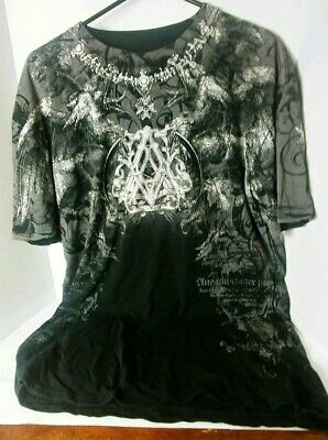 Archaic by Affliction Atelier Mens Graphic T-Shirt Black Short Sleeve Size XL