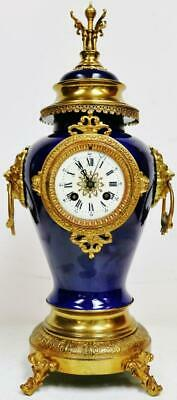 Antique French 8 Day Bell Striking Blue Glazed Porcelain & Bronze Mantel Clock