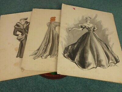 Antique Art Deco 1930s Fashion Sketches Watercolours Drawings Paintings x3