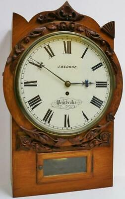 Antique Welsh 8 Day Mahogany Single Fusee Drop Dial Wall Clock, Station Clock