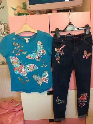 Girls Monsoon Jeans And T-Shirt Butterfly Outfit Age  9-10