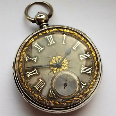 Large 1871 Silver Dial Fusee Pocket Watch Named & In Full Working Order