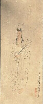 Antique Japanese Painting Guanyin by Bunto Hayashi with Gump Label,