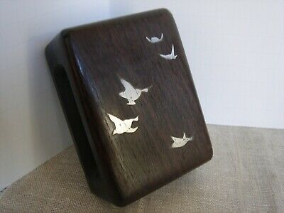 Danish Sterling Silver Rosewood Matchbox Holder Inlaid Ducks MidCentury Modern
