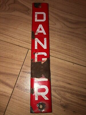 Antique Electrical Danger Sign Metal And Enamel: Red And White. Mancave Decor