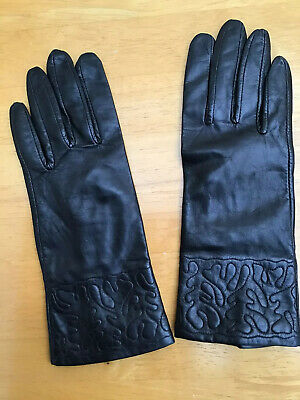 Ladies Black Leather Vintage Gloves Pompei Italy Excellent condition S/M