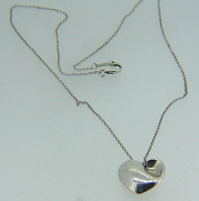 """Sterling Silver Heart Pendant 16"""" Cable Necklace Authentic Tiffany & Co  N45"""
