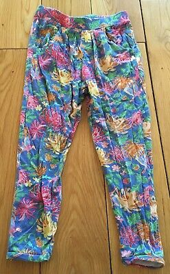Girls Blue Floral Trousers Size 4 Years
