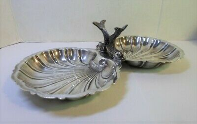 "Vintage GORHAM SHELL CANDY DISH with DOLPHIN HANDLES EP Silver Plated 9"" Long"