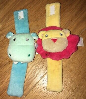 Lion And Hippo Baby Wrist Rattles