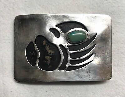Vintage Native American Sterling Silver Overlay Turquoise Bear Paw Belt Buckle