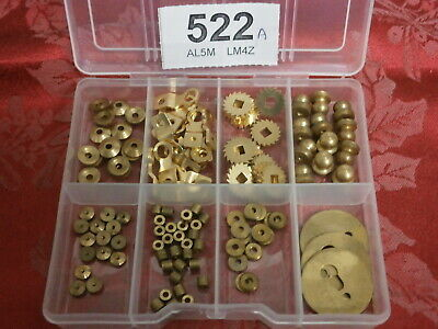 Clock Parts Box of hand nuts washers feet ratchet etc mantle wall movement 522A