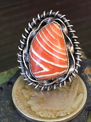 Old Native American Orange stripped Opal  Sterling silver tabby ring 5G Size 6.5