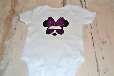 Baby fashion girls purple glitter and black Minnie Mouse bodysuit/vest, party