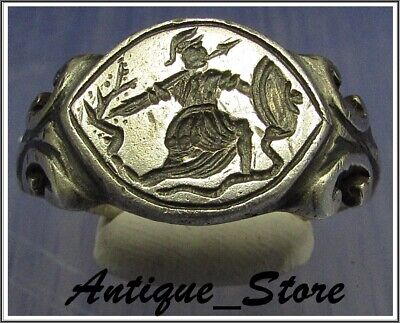 ** ATHENA ** Ancient Legionary Silver Greek Roman Ring ** VERY RARE **