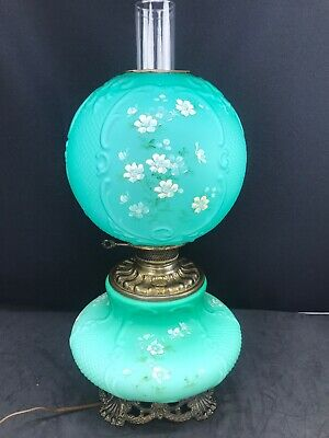 Antique Banquet Oil Lamp Green Teal Satin Cased Glass GWTW Consolidated Fishnet
